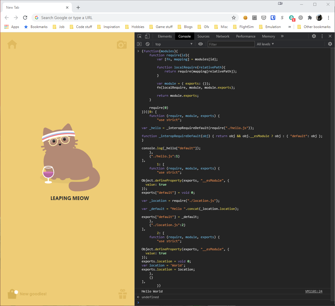Showing our bundled code in the Developer console in Chrome